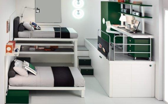 以白色为主,加以绿色的配套装饰,简洁又环保